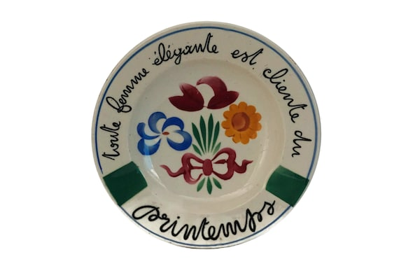 French Printemps Store Advertising Ceramic Ashtray with Hand Painted Flowers, Mid Century Pottery