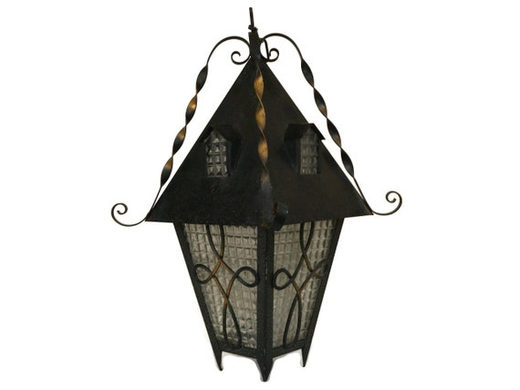 Vintage Wrought Iron Porch Light, French Cottage Hanging Lantern with Roof and Windows, Garden and Outdoor Decoration