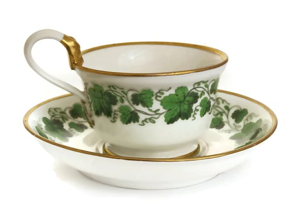Schlaggenwald Porcelain Cup & Saucer Set, Antique China Teacup with Grape Vine Leaf Pattern