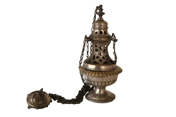 Antique French Church Incense Thurible, Catholic Mass Hanging Censer Burner, Religious Decor