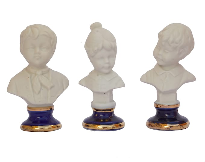 Miniature French Porcelain Children Bust, Girl and Boy Portrait Figurines