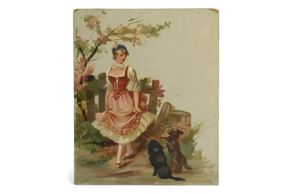 French Antique Romantic Oil Painting, Woman with Dogs Original Art, Shabby Home Decor, Belle Epoque Style