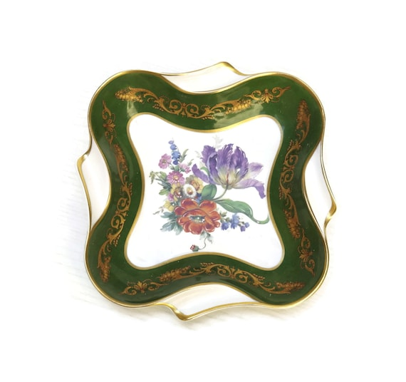 Limoges Porcelain Trinket Dish, French Vintage Hand Painted Flower Plate, Decorative Ceramic Jewelry Bowl, Gift for Her