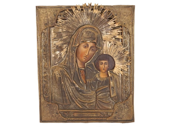 Vintage Orthodox Virgin and Child Icon, Hand Painted Our Lady and Jesus in Silver Plated Brass Oklad