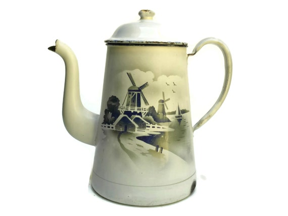 Vintage French Enamel Coffee Pot with Windmills, White and Blue Country Kitchen Decor