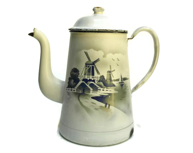 Vintage French Enamel Coffee Pot with Windmills, Country Kitchen Decor