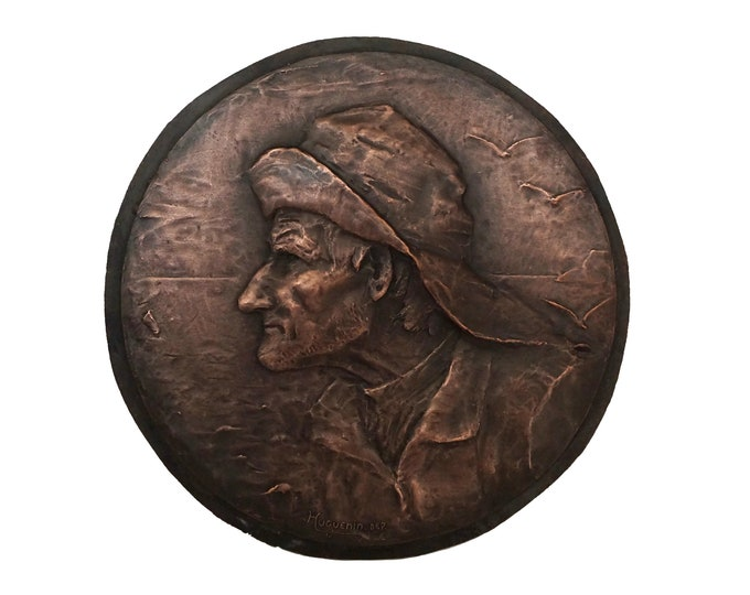 Antique French Fisherman Portrait Plaque, Old Sailor Wall Hanging Art