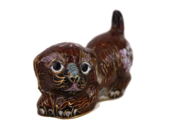Vintage Chinese Cloisonne Dog Figurine, Collectible Enamel Brass Animal Figure, Asian Art and Home Decor