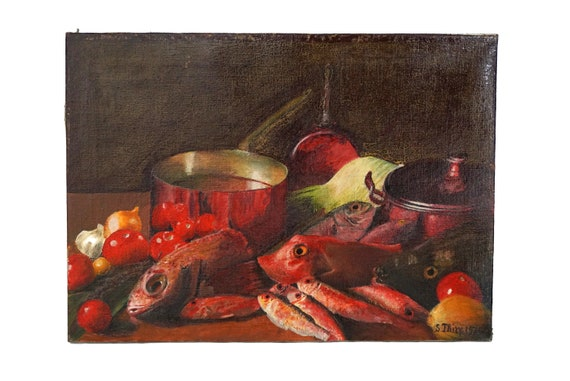 Kitchen Still Life Art with Fish and French Copper Cooking Pans, Food Painting