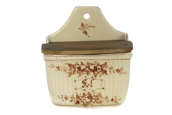 French Antique Porcelain Salt Box, Hand Painted Ceramic Cellar, Brown and White Container, Country Kitchen Decor
