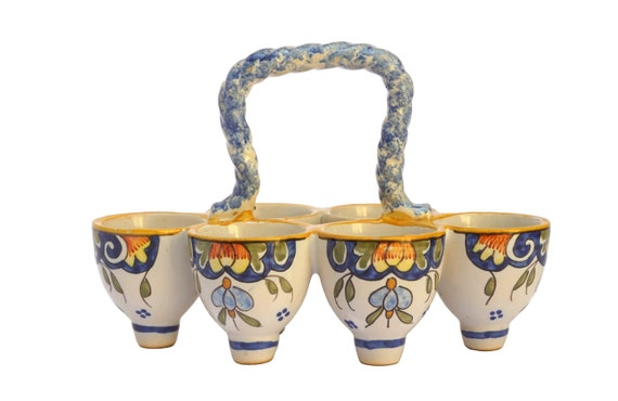 Desvres French Faience Egg Holder Carrier, Hand Painted Ceramic Kitchen Storage and Display