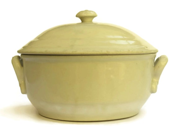 Antique French Stoneware Soup Tureen, Rustic Kitchen Decor