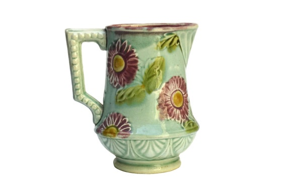 Antique Majolica Daisy Flower Pitcher, French Ceramic Milk Jug