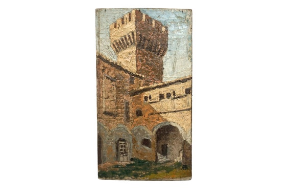 French Castle Tower and Courtyard Painting, Medieval Architecture Art