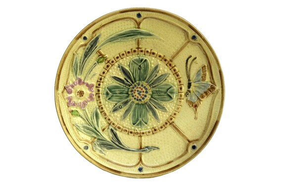 Majolica Flower and Butterfly Plate, Antique Hand Decorated Wasmuel Ceramic Wall Plate
