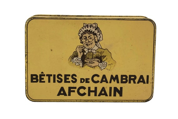 Antique French Candy Tin Box, Advertising for Betises de Cambrai