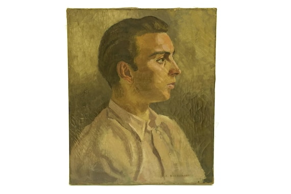 French Antique Young Man Portrait Painting, Signed Original Art on Canvas