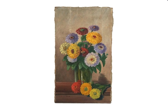 RESERVED for K. Zinnia Flowers in Vase Painting, Antique French Floral Still Life Art