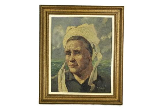 French Breton Woman Portrait Oil Painting. Brittany Lady Original Framed Art Signed M Prével. France Souvenir and Home Decor.