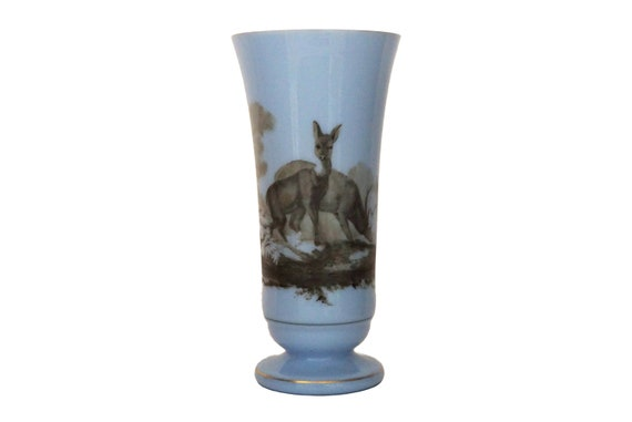 Opaline Art Glass Vase with Hand Painted Deer Figures, Antique French Woodland Decor