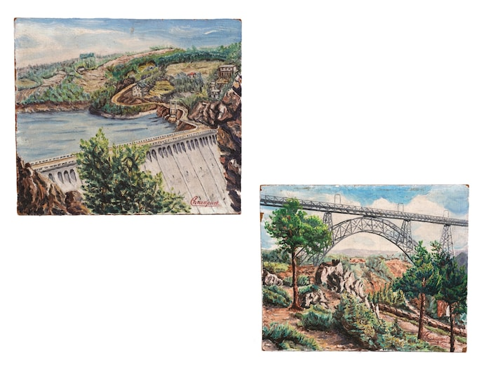 French Country Landscape Painting Pair with Dam Wall and Bridge, Mid Century Industrial Art