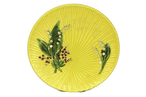 Schramberg Majolica Lily of the Valley Plate. Yellow Ceramic Wall Hanging Plate. Pink Flower and Green Leaf Plate. Kitchen Decor.