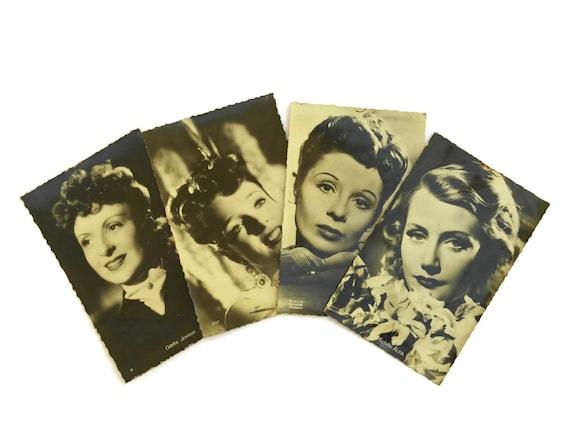 Vintage French Cinema Actress Postcards, Jacqueline Laurent, Micheline Presle, Odette Joyeux, Michele Alfa, Hollywood Glamour Photo Portrait