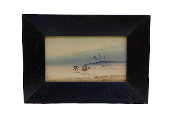 Antique Camel and Desert Landscape Watercolor Painting, Original Signed Orientalist Art