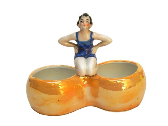 Art Deco Bathing Beauty Lady Figurine Porcelain Salt and Pepper Cellars