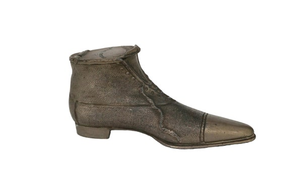 Antique Victorian Boot Inkwell, Collectible Miniature Shoe