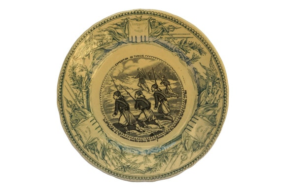 Antique Military Transferware Faience Plate by Vieillard Bordeaux, French Protectorate of Tunisia History Collectible