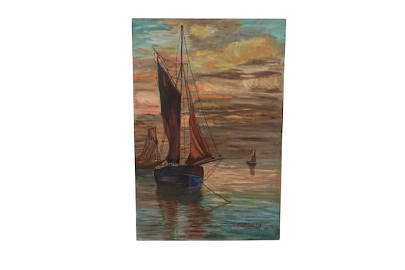 Sailing Boat at Sunset Painting, Original French Mediterranean Coastal and Seascape Art