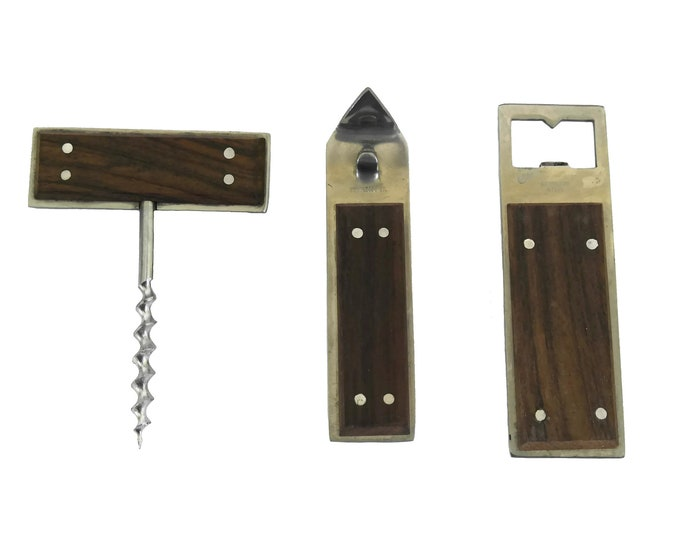 Mid Century Teak Bar Set with Cork Screw, Bottle and Can Openers, Vintage Barware Tools