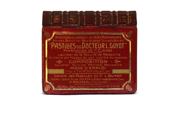 Antique French Medicine Tin Box, Docteur Guyot Pastilles