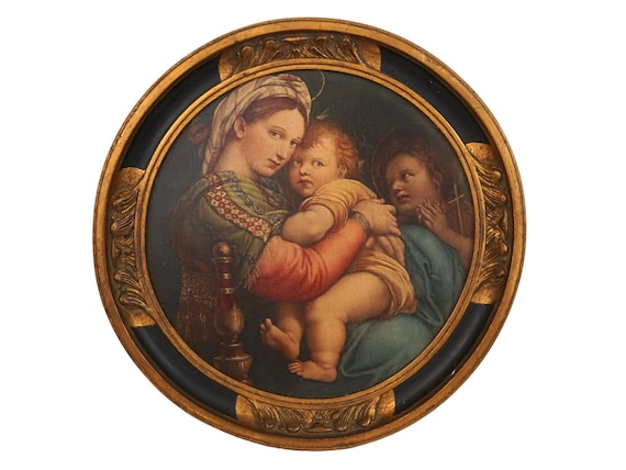 Antique Raphael Madonna of the Chair, Virgin Mary and Child Christ Portrait, Religious Florentine Framed Art