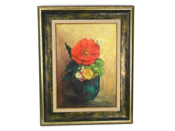 Still Life Painting of Flowers in a Teal Vase, Vintage French Oil Painting in Frame, Red and Yellow Original Art