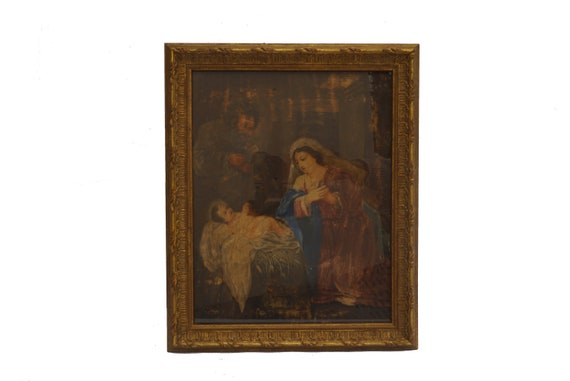 Antique Christmas Nativity Scene Painting, 18th Century French Religious Art with Baby Jesus, Virgin Mary and St Joseph