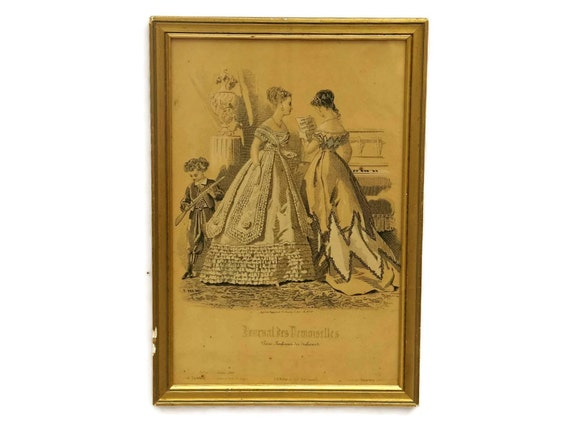 Antique French Fashion Illustration Journal Des Demoiselles in Gold Frame.  Victorian Fashion Print.