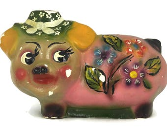 French Vintage Money Bank. Plaster Lady Pig Figure Coin Bank. Breakable Money Box. French Shabby Decor.