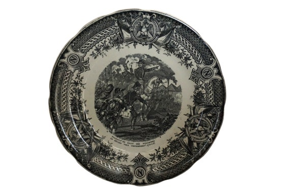 Antique Napoleon Bonaparte Military Plate with Imperial Eagle and N Monogram, French Black Transferware Ceramic by Sarreguemines