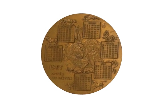 1987 Birthday Calendar Bronze Medal with Chinese Zodiac Animals, Year of the Rabbit, Vintage French Collectible Coin
