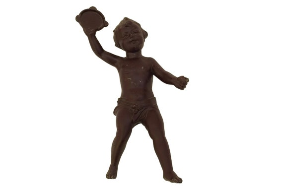 Antique Cherub Figurine with Tambourine, Musical Angel Statuette