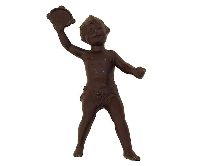 Antique Cherub Figurine with Tambourine, Musical Angel Statuette