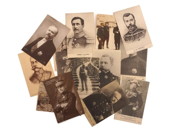 Antique Military and Soldier Postcards Collection, French Men in Uniform Portrait Cards, Militaria Collectible.