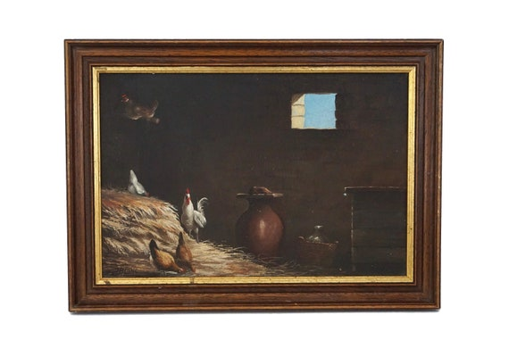 French Hens and Rooster in Barn Painting, Country Farmhouse Home Decor and Wall Art