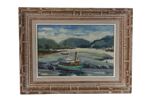 Oyster Fishing Boat Painting, Vintage French Coastal Art
