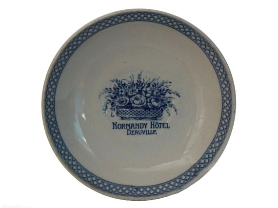 Deauville Normandy Hotel Advertising Coin Dish, French Blue and White Ceramic Change Tray