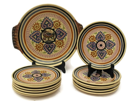 Quimper Cake Plates and Platter Set by Paul Fouillen