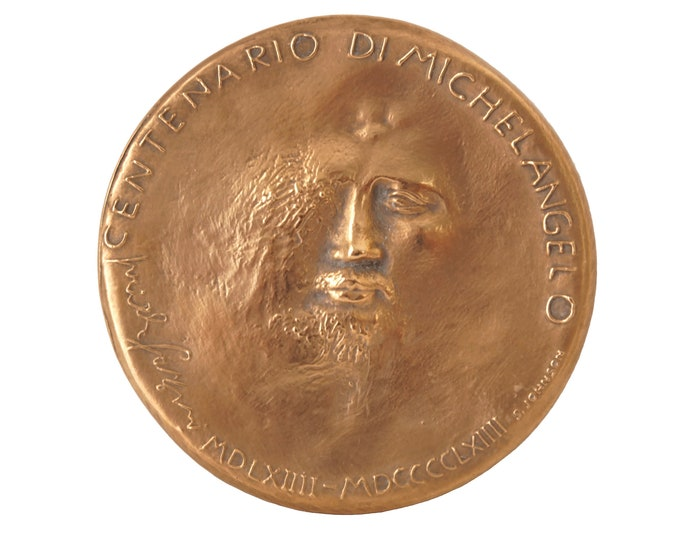 Vintage Michelangelo Commemorative Bronze Medal, Birthday of Rome Celebration by Pericle Fazzini