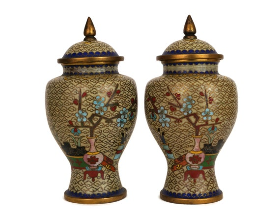 Vintage Chinese Cloisonne Urn Pair,  Cherry Blossoms Vases with Lid, Enamel and Brass Asian Home Decor